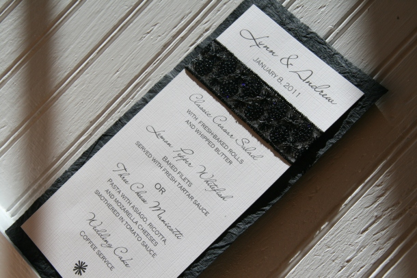 B&W Menu Card
