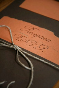 Fall Inspiration: Burnt edged linen pocket invitation sealed with hemp twine.