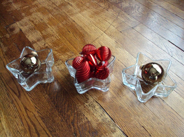 Wedding candy dish turned Christmas decoration