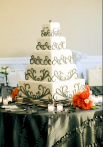 Wedding cake with gray swirls